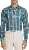 Canali Plaid Linen Regular Fit Button-Down Shirt