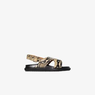 Marni brown Fussbett snake print leather sandals