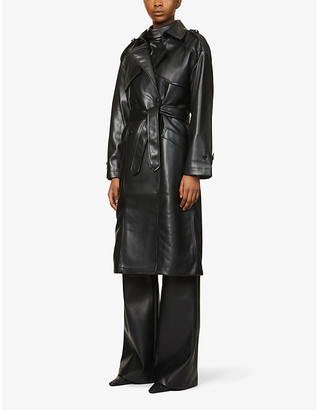 Anine Bing Finley belted faux-leather trench coat