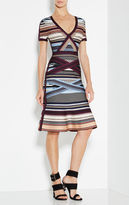 Herve Leger Lavinia Engineered Multi-Stripe Dress