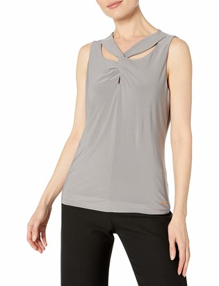 Nine West Women's Sleeveless Solid Knit TOP with Twisted Neckline Detail