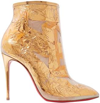 Christian Louboutin Booty Cap 100 Pvc And Metallic Crinkled-foil Ankle Boots