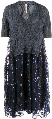 Antonio Marras sweater-panelled sequinned dress