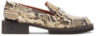 Ganni Crystal-embellished Python-effect Leather Loafers - Python