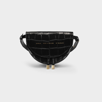 CHYLAK Saddle Mini Bag In Black Croc Embossed Leather