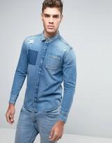 Calvin Klein Jeans Distressed Slim Fit Denim Shirt