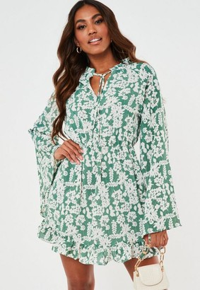 Missguided Sage Floral Print High Neck Keyhole Flare Sleeve Dress