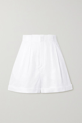 Equipment Boyde Pleated Linen Shorts - White