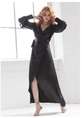 Sarvin OUTLET Black Wrap V-NECK WRAP MAXI DRESS WITH SIDE SLIT