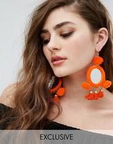 Reclaimed Vintage Inspired Mirrored Pom Pom Earrings