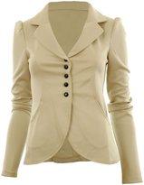 Forever Womens Celebrity Inspired Plain Long Sleeves Button Blazer Jacket