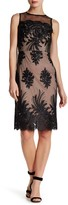 Donna Ricco Sheer Embroidered Illusion Dress
