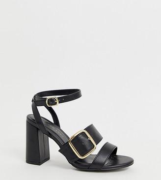 New Look wide fit buckle detail sandal in black