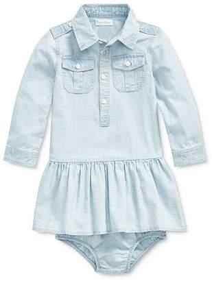 Ralph Lauren Girls' Chambray Shirt Dress & Bloomers Set - Baby