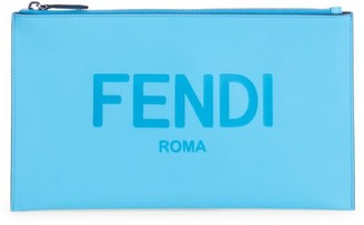 Fendi Medium Logo Leather Pouch