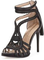 BCBGMAXAZRIA Esh Macrame Strappy Sandal, Black