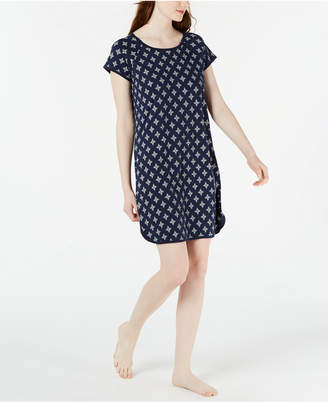 Charter Club Short Sleeve Cotton Printed Nightgown