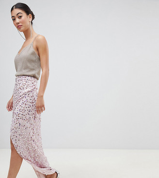 Asos DESIGN Petite maxi embellished wrap skirt
