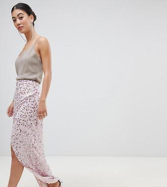 Asos DESIGN Petite maxi embellished wrap skirt