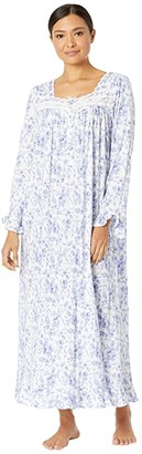 Eileen West Cotton Modal Long Sleeve Ballet Gown (Blue/Rose Floral) Women's Pajama