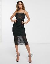 Asos Design DESIGN cami midi bodycon dress with lace bodice inserts