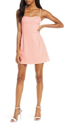 French Connection Gingham Tie Back Sleeveless Minidress