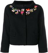 Moschino embellished neck crooped jacket
