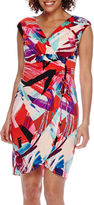 London Times London Style Collection Sleeveless Printed Ruched Sheath Dress - Petite