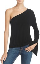 Aqua Cashmere Ribbed One Shoulder Sweater - 100% Exclusive