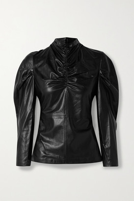 IRO Meyjar Ruched Leather Top - Black