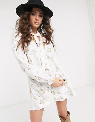 Free People petit fours floral high neck mini dress-White