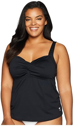 TYR Plus Size Solid Twisted Bra Tankini (Black) Women's Swimwear