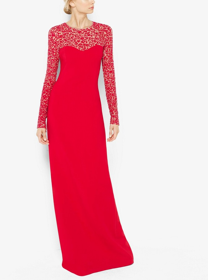 Michael Kors Embroidered Long-Sleeve Gown