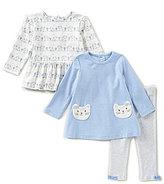 Little Me Baby Girls 12-24 Months Cat-Print Peplum Top, Cat-Applique Top, & Leggings 3-Piece Set