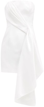 Halpern Bustier Draped Duchess-satin Mini Dress - Ivory