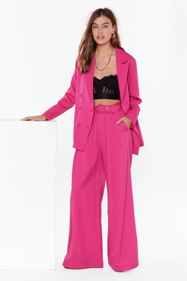Nasty Gal Womens On the Runway Belted Wide-Leg Pants - Hot Pink