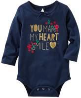 "Osh Kosh Baby Girl You Make My Heart Smile"" Foil Print Bodysuit"