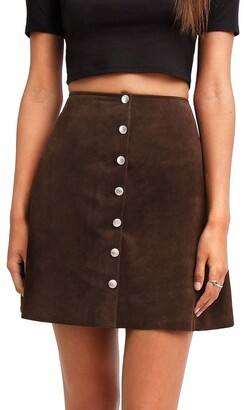 Belle & Bloom Into The Woods Hot Chocolate Leather Mini Skirt