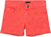 Ikks Coral Star Embroidered Denim Shorts