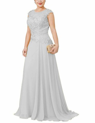 Cloverbridal Lace Beaded Mother of The Bride Dresses A Line Chiffon Evening Formal Gowns for Party Silver UK 14