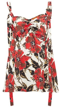 colville Shirred Floral-print Crepe Camisole - Red