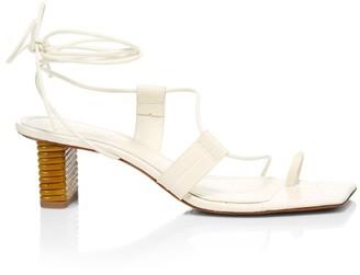Mercedes Castillo Violete Ankle-Wrap Square-Toe Croc-Embossed Leather Sandals