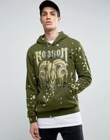Reason Hoodie In Khaki With Bleach Splat And Ram Print