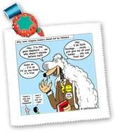 3dRose LLC qs_2635_1 Rich Diesslins Funny Cartoon Gospel Cartoons - Wolf in Sheeps Clothing - Quilt Squares