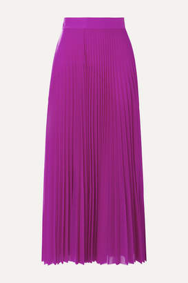 Victoria Victoria Beckham Victoria, Victoria Beckham - Pleated Satin-trimmed Jersey Midi Skirt - Magenta