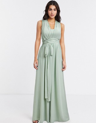 Goddiva cross back tie front maxi dress in mint
