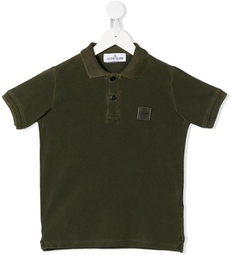Stone Island Junior logo patch polo shirt
