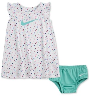 Nike Baby Girls 2-Pc. Dri-fit Dot-Print Flutter-Sleeve Dress & Diaper Cover Set