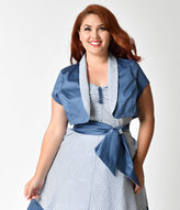 Unique Vintage Plus Size 1940s Style Blue Short Sleeve Duke Bolero