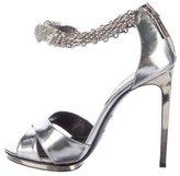 Roberto Cavalli Metallic Embellished Ankle-Strap Sandals